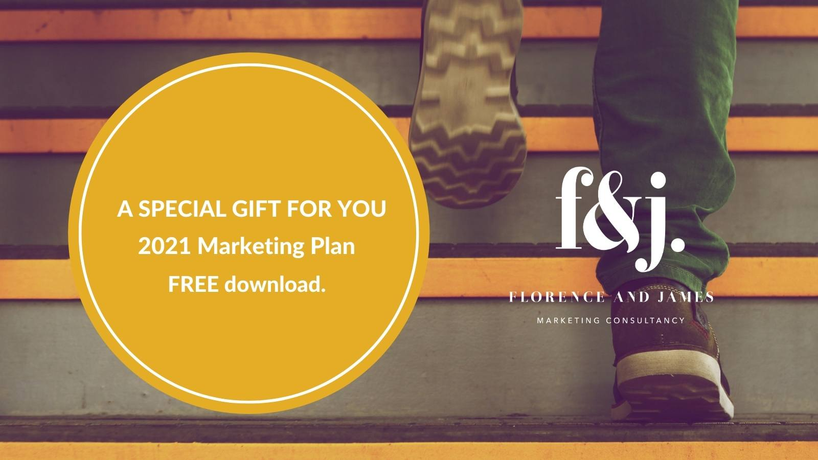 footsteps on stairs, orange box with free marketing plan download text.